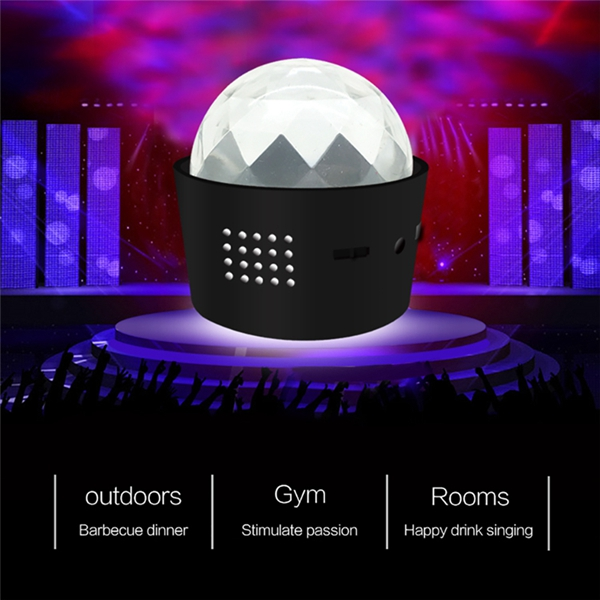 5W Mini RGB Sound Actived LED USB Crystal Magic Ball Stage Light for Car Party Disco Club DJ KTV