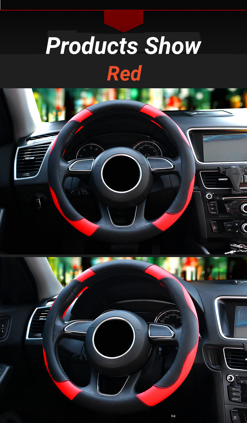 38cm Pinhole Leather Non Slip Car Steering Wheel Covers Sport Breathable Automotive Accessories