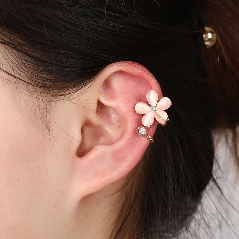 Trendy Alloy Opal Left Ear Clip Flower Rhinestone Rose Gold Earring