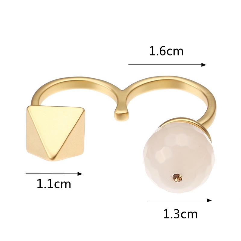 JASSY® Matte Gold Plated Natural Stone Light Golden Rhinestone Open Double Rings Women Jewelry