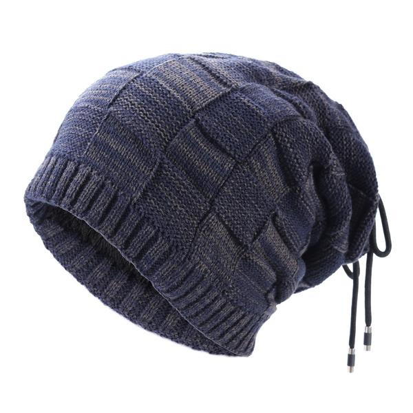 Mens Winter Warm Woolen Beanie Cap Neck Scarf