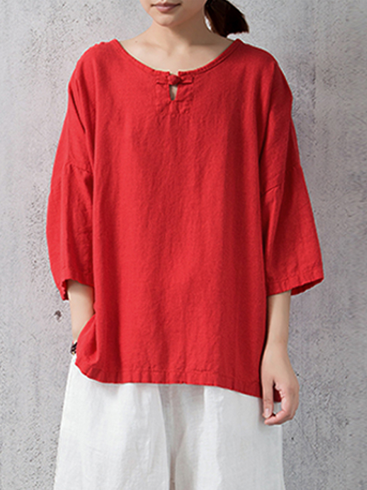 S-5XL Women Casual Plate Buckle 3/4 Sleeve Blouses