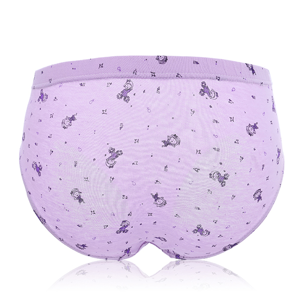 Comfy Mid Rise Breathable Cotton Underwear Pure Color Pattern Printed Bow Soft Panties For Women