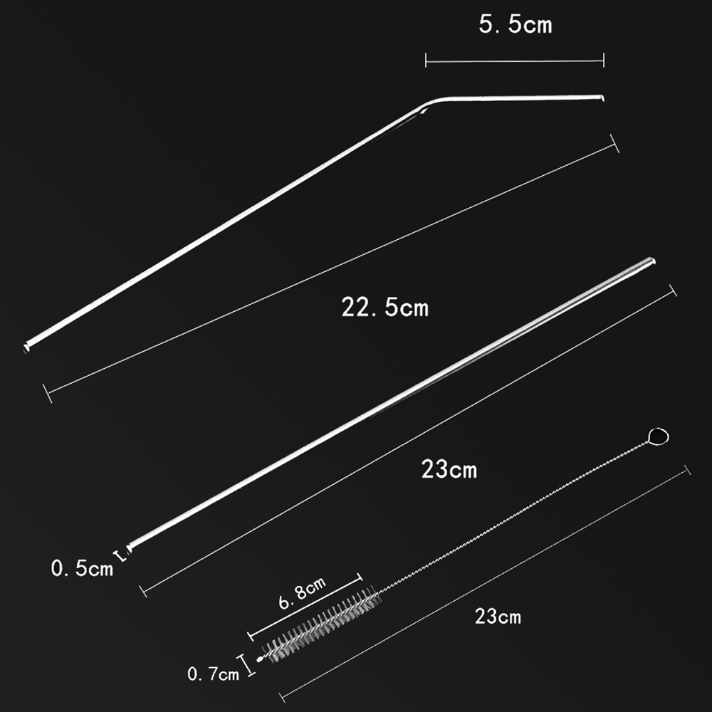 4PCS 23cm Reusable Bent Straight 304 Stainless Steel Drinking Straw With Brush Set Party Tableware