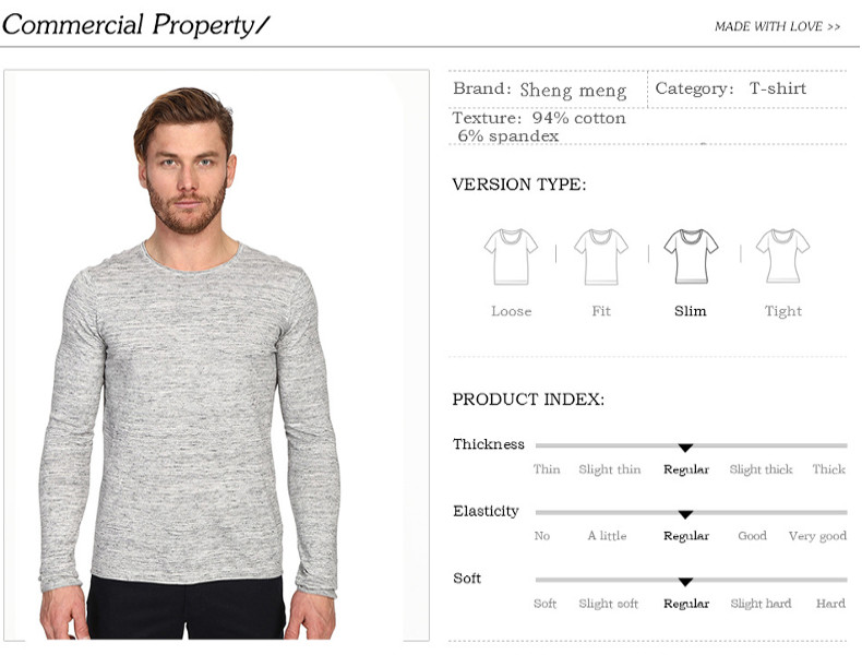 Men's Leisure Solid Color Round Neck Cotton T-shirt Fashion Long Sleeved Bottoming Tops Tees