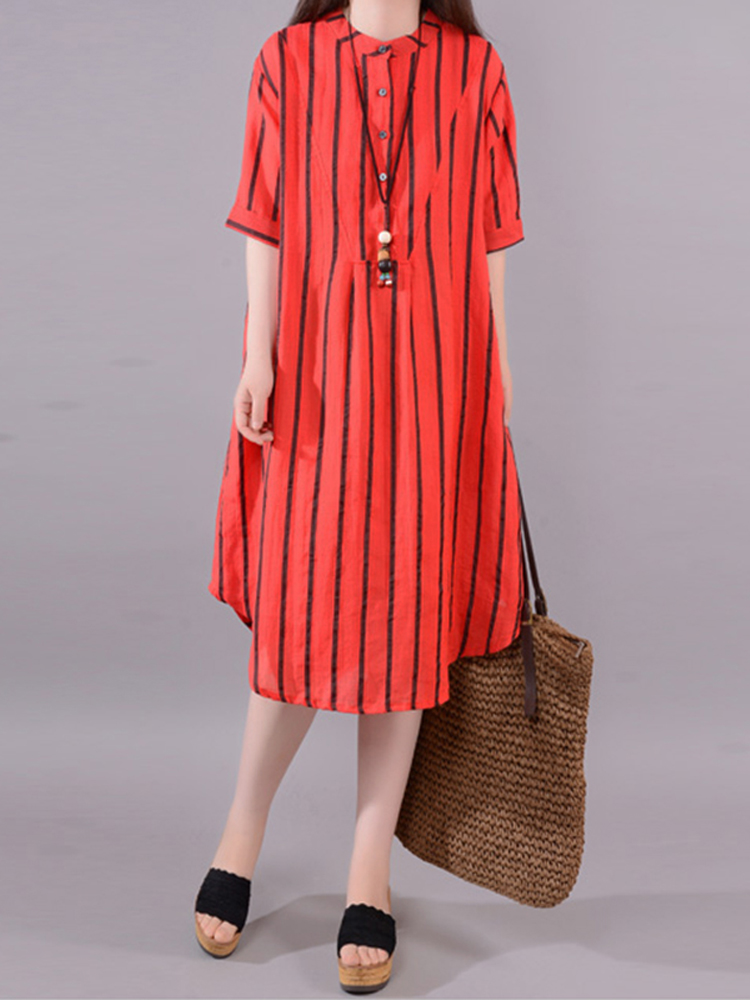 Women Short Sleeve Buttons Stripe Long Shirt Asymmetrical Dress