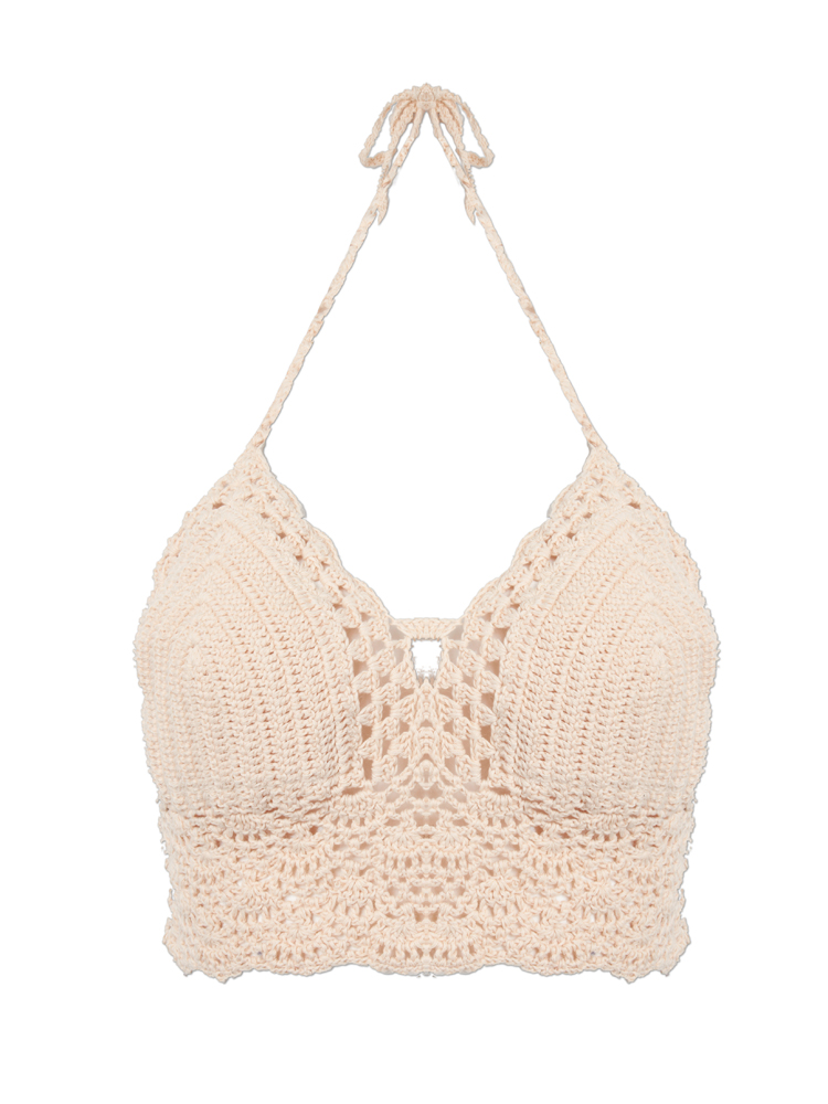 Women Sexy Halter Neck Knitted Crochet Hollow Out Beach Bikini Bra Tank Top