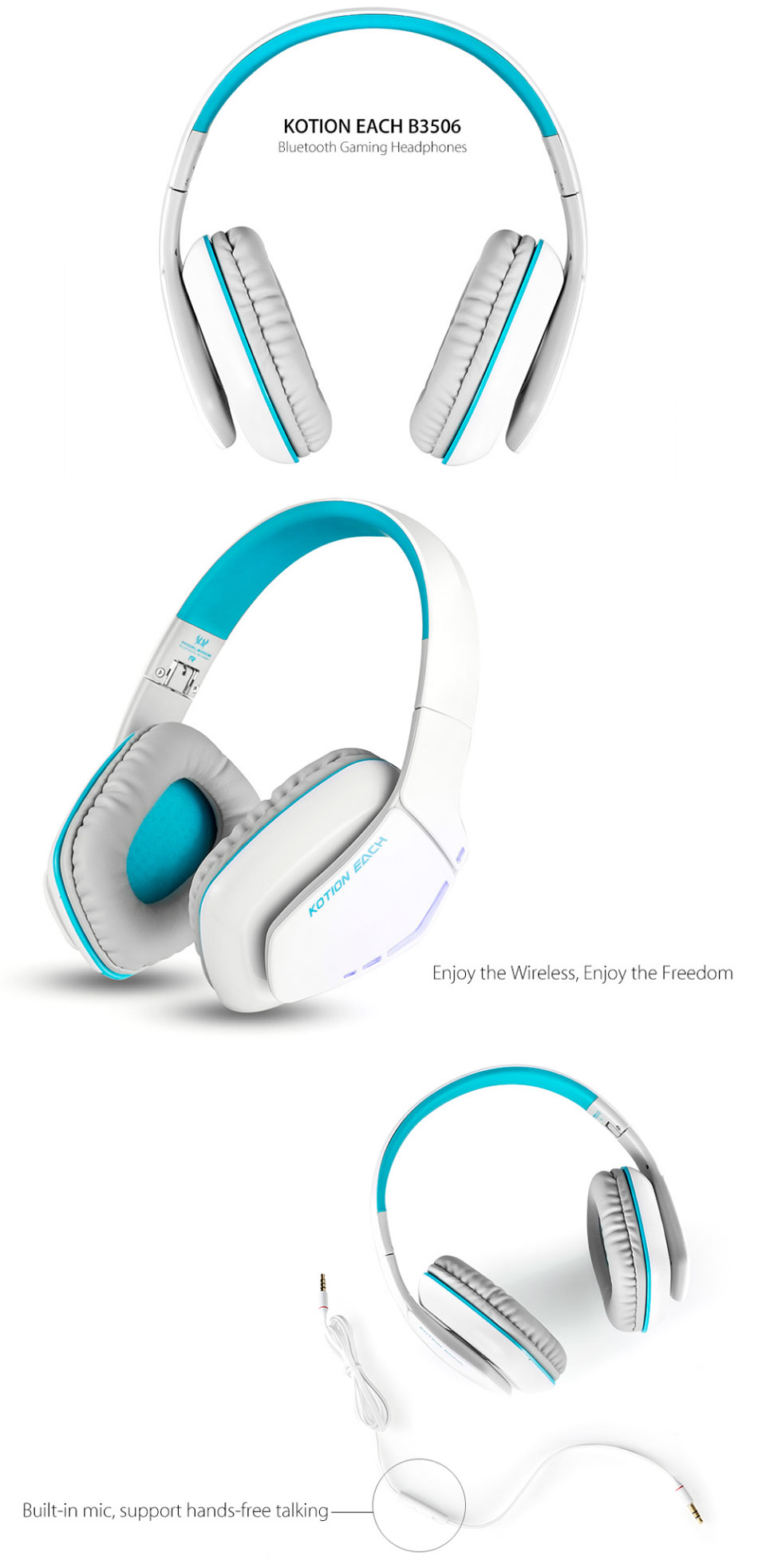 KOTION EACH B3506 Wireless Bluetooth Headset Foldable Gaming Cuffie Stereo  Headphone with Mic 690f2a6a90b3