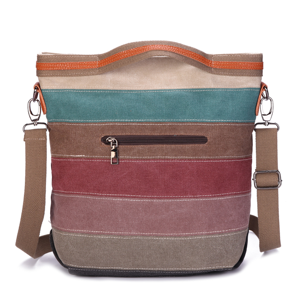 Women Canvas Contrast Color Striped Handbag Shoulder Bags