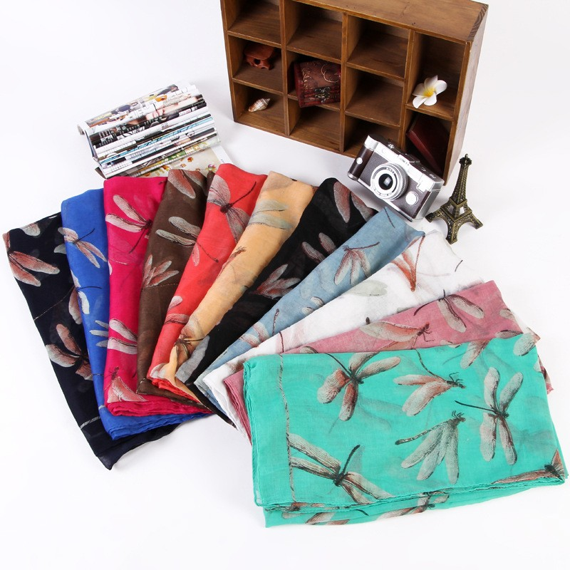 Women Scarf Warm Animal Cute Dragonfly Print Paris Yarn Shawl Wrap Pashmina