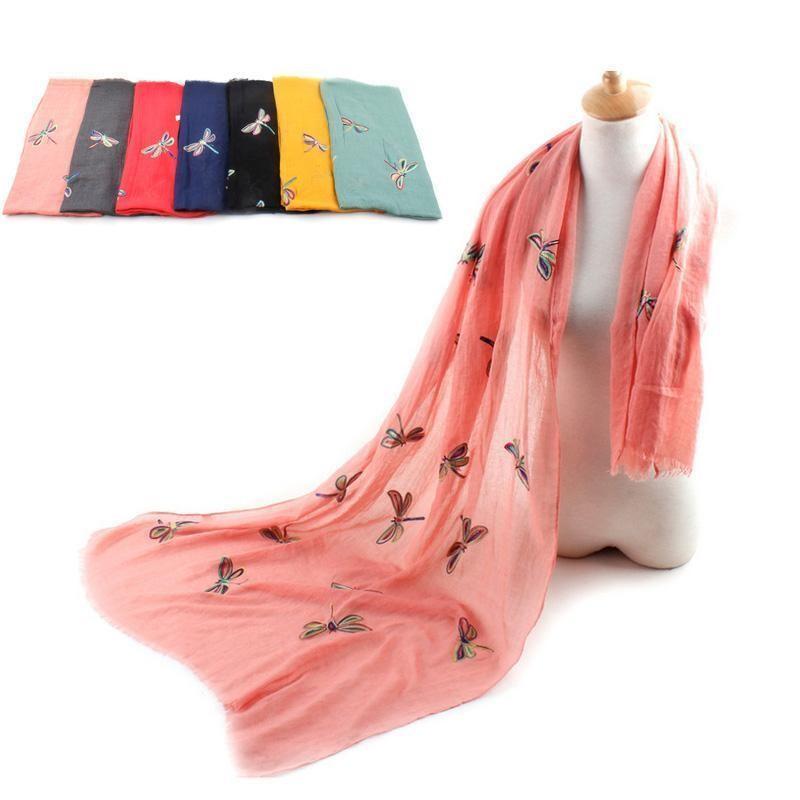 Women Scarf Warm Animal Cute Dragonfly Print Paris Yarn Shawl Wrap Pashmina