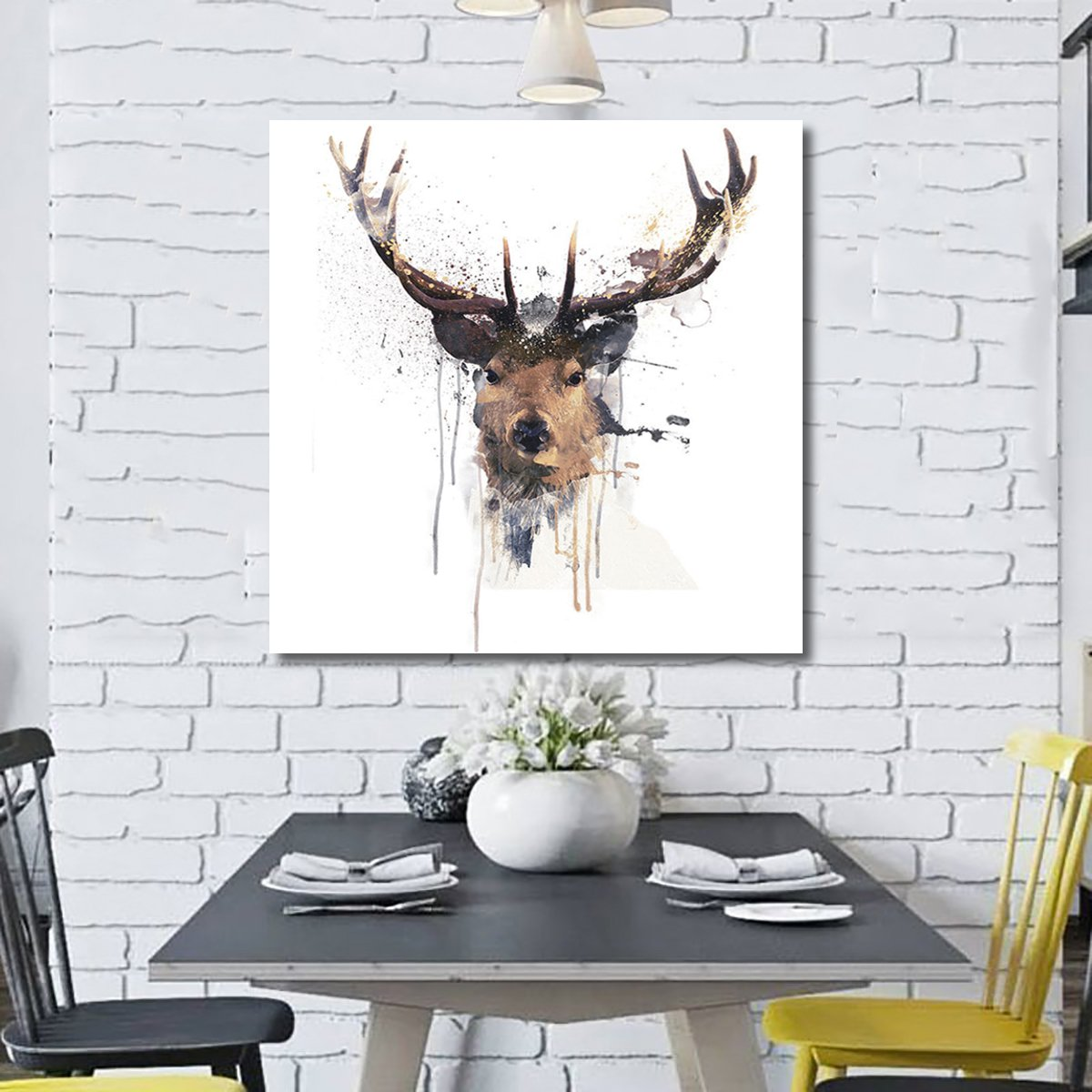 16'' Abstract Stag Deer Canvas Picture Printed Paintings Décor Framed / Unframed