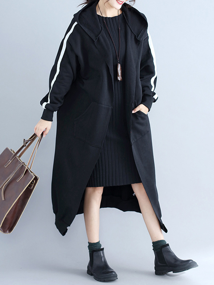 Casual Women Loose Velvet Thick Coat Pockets Hooded Coat