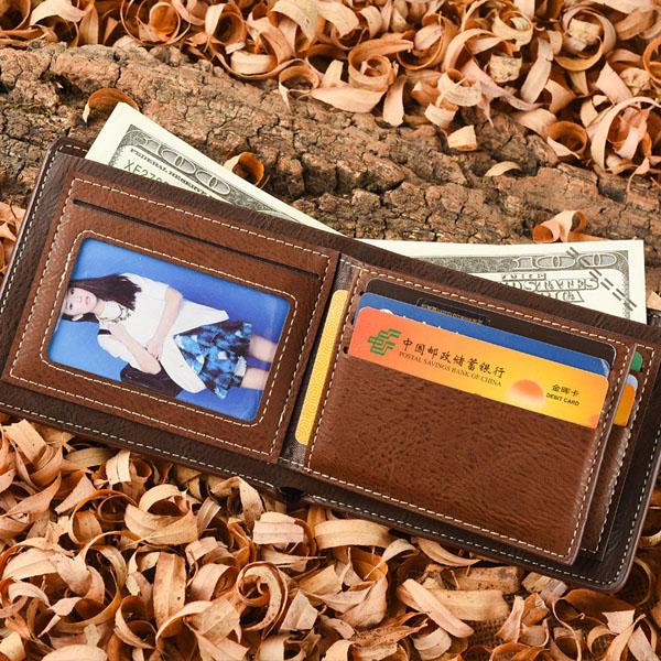 Men PU Business Coffee Zipper Retro Card Holder Wallet