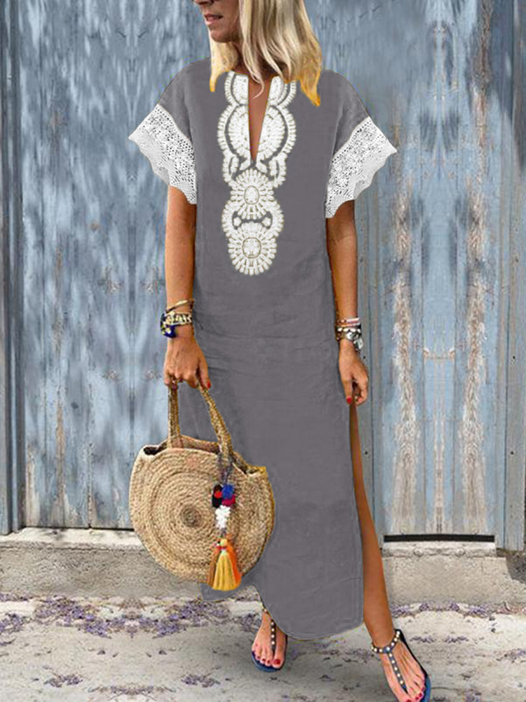 Women V-Neck Baggy Boho Split Hem Maxi Dress