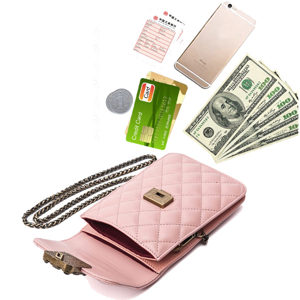 Quilted Metal Strap Chain Shoulder Bags Mini Crossbody Bags 5.5'' Phone Purse For Iphone 7p