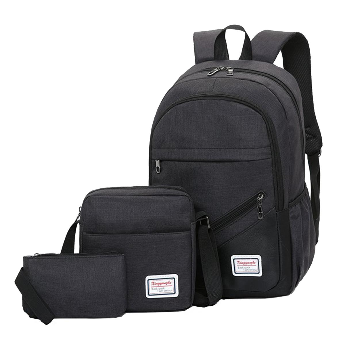 3 Pcs Backpack School Bag Laptop Bag Canvas Cross body Bags Camping Travel Handbag Pen Bag