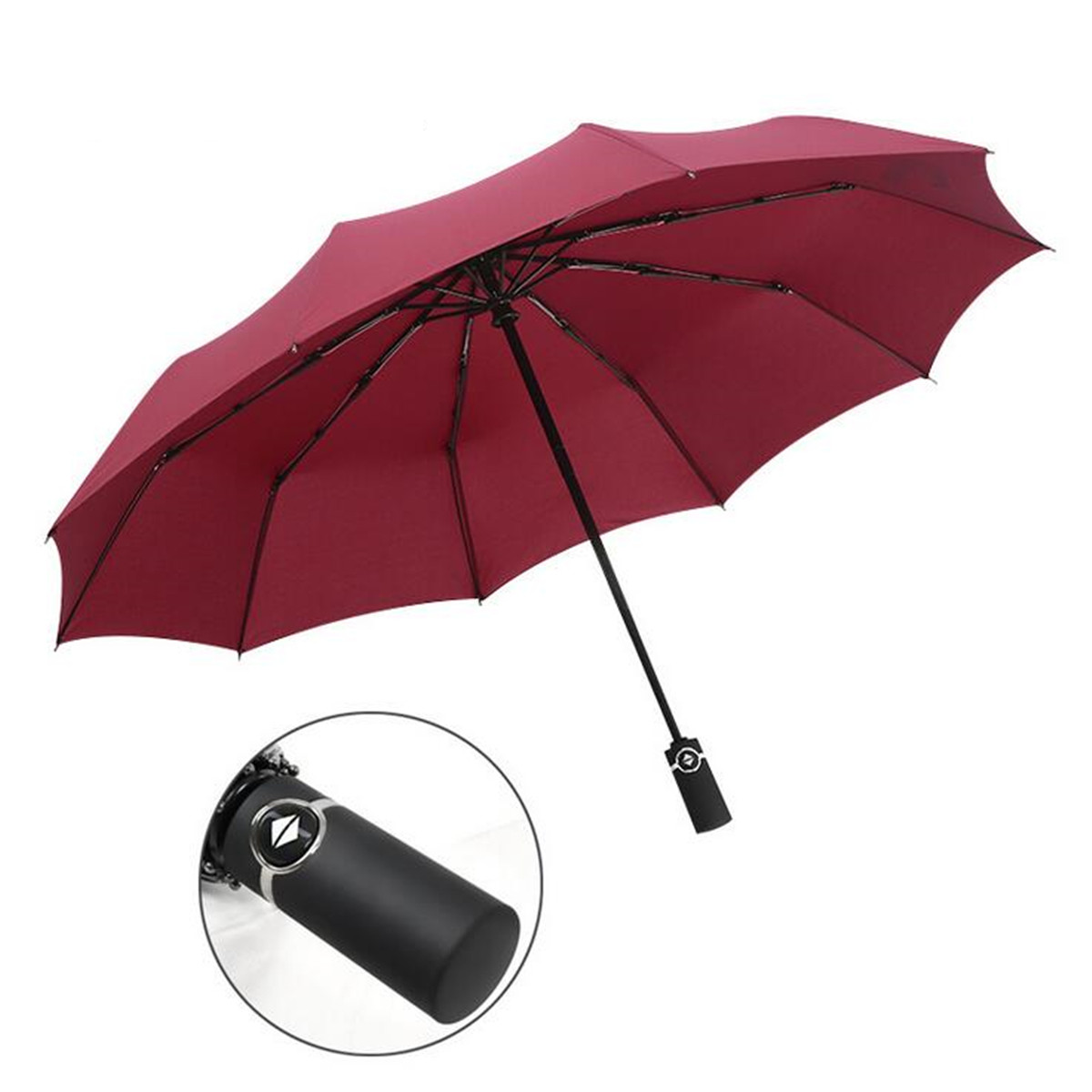 Outdoor 10 Ribs Fully Automatic Folding Umbrella Auto Open Close Waterproof UV Rain Sunshade