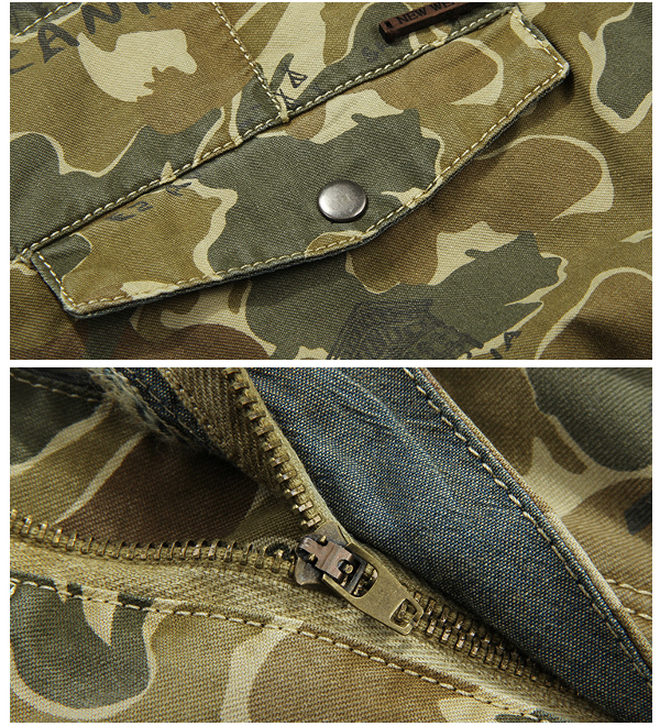 Mens Outdooors Camouflage Multi Pocket Knee-length Loose Casual Cotton Cargo Shorts