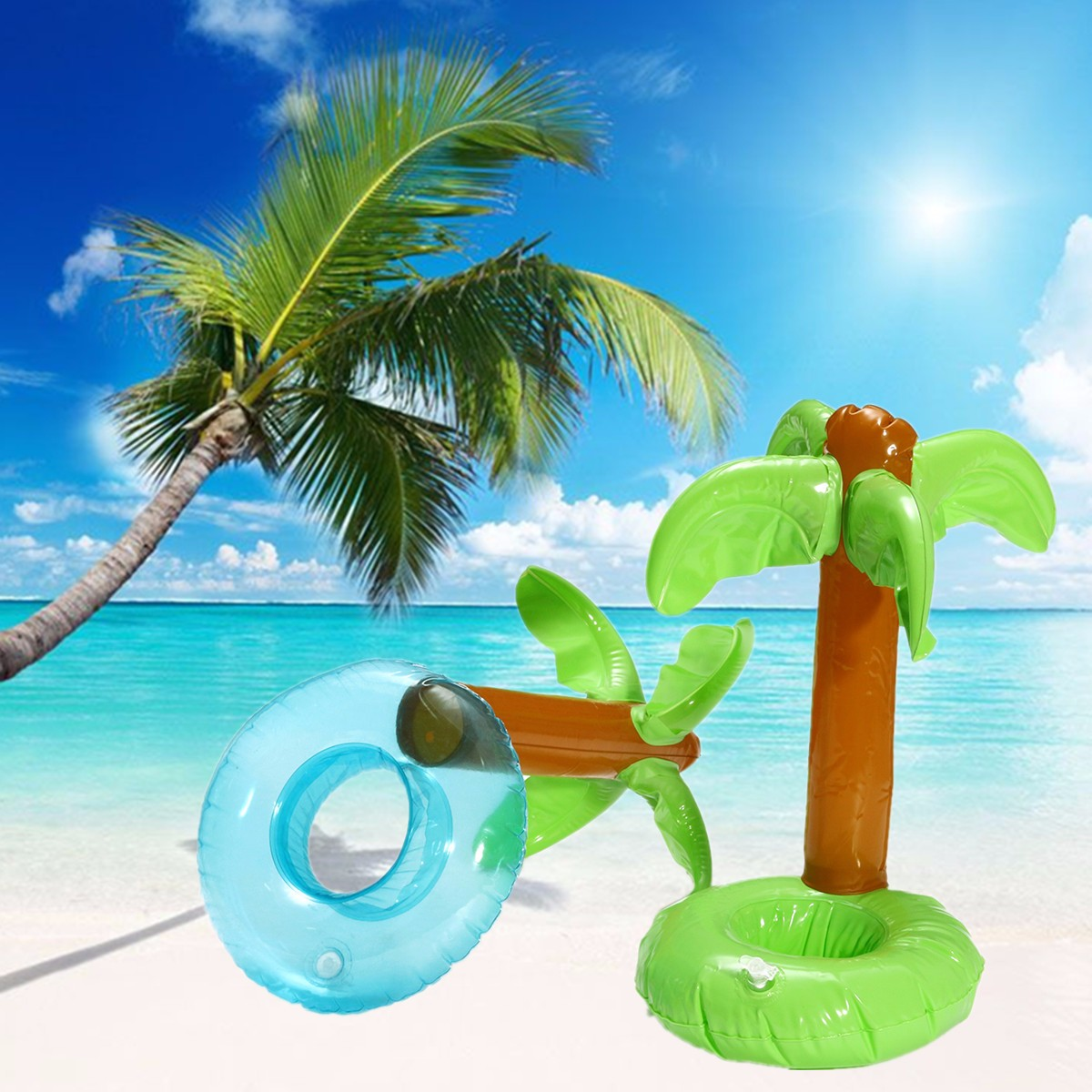 IPRee™ Inflatable Coconut Tree Drink Can Cup Phone Holder Floating Cup Base Pool Bath Summer Beach