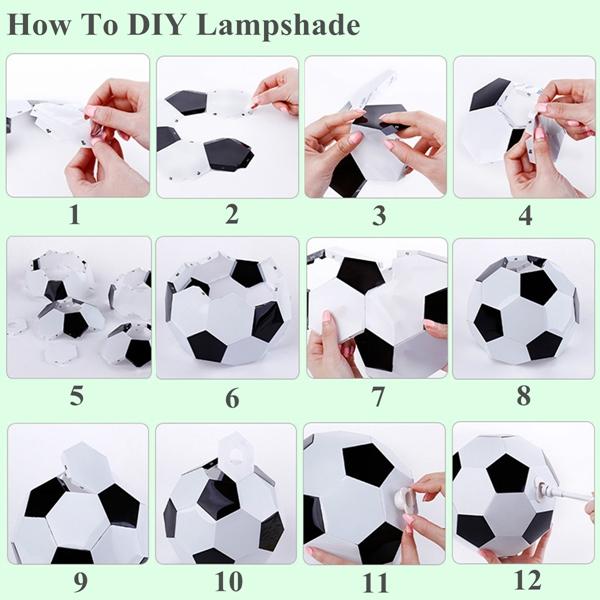 DIY Handmade 7 Color Changing USB Football LED Night Light Desktop Lamp Bedroom Decor