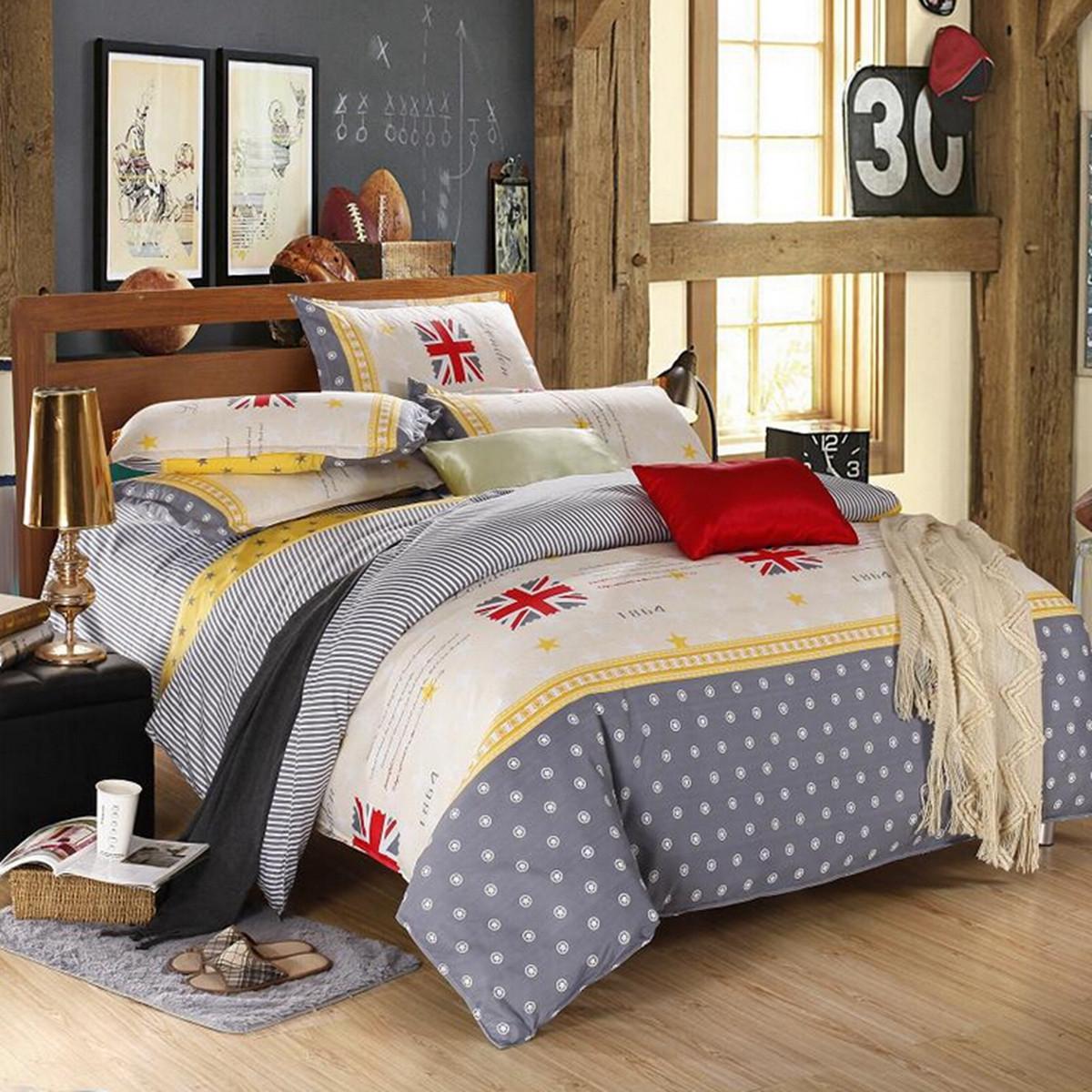 Polyester Single Queen King Size England Flag Reactive Bedding Sets Bed Sheet Duvet Cover Pillowcase