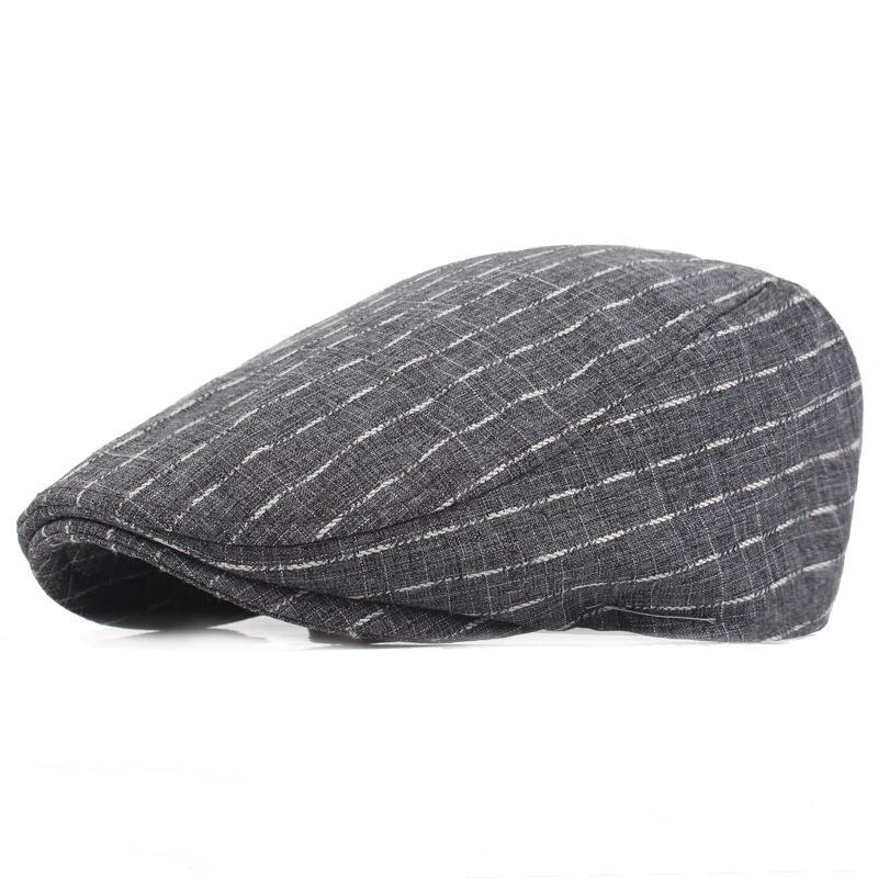 Unisex Cotton Stripe Beret Hat Buckle Adjustable Golf Driving Flat Cabbie Newsboy Beret Cap