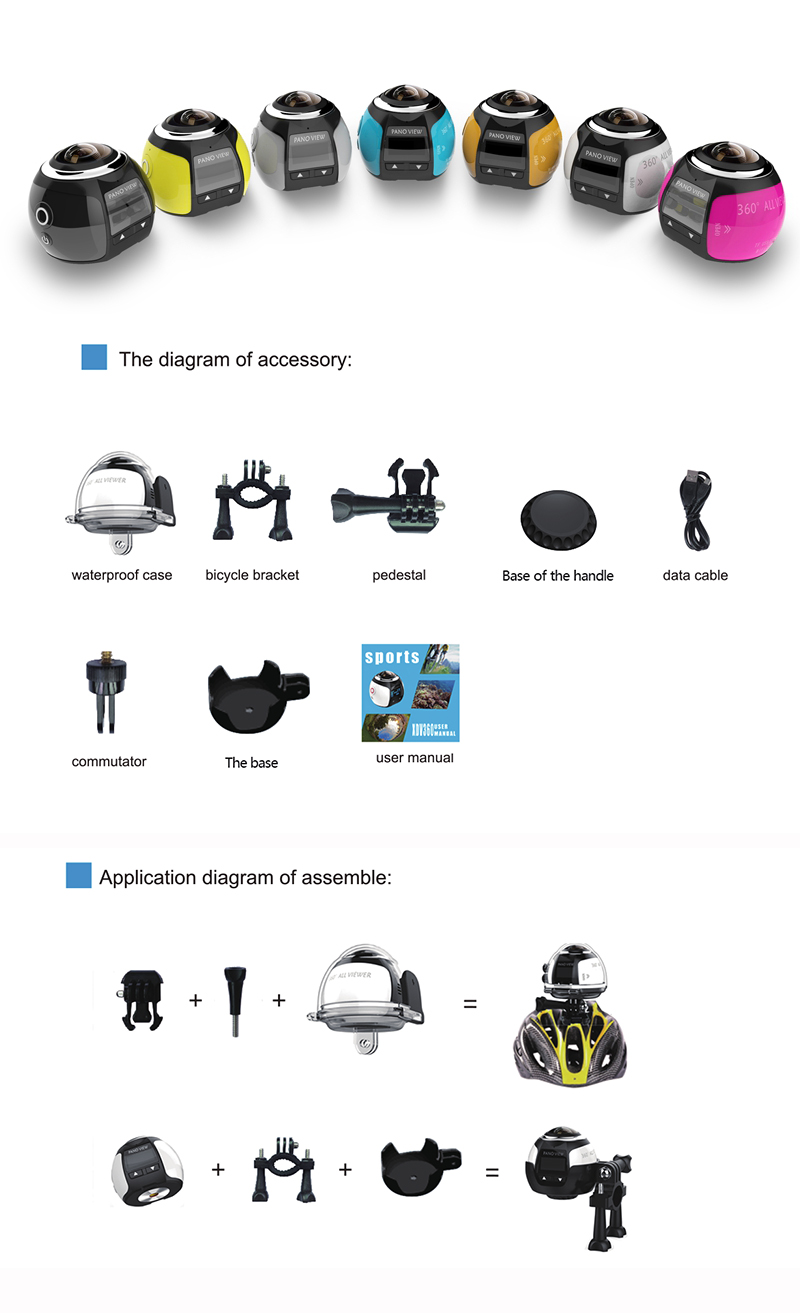 XANES 360° Mini WiFi Panoramic Video Camera 2448P 30fps 16MP Photo 3D Sports DV VR Video And Image ABS