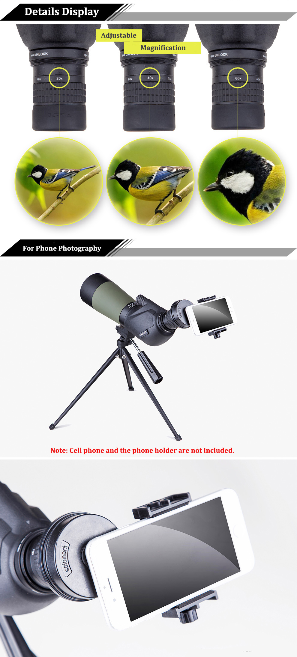IPRee® 20-60X80A HD BAK4 Monocular Waterproof Telescope For Bird Watching Outdoor Spotting Scope