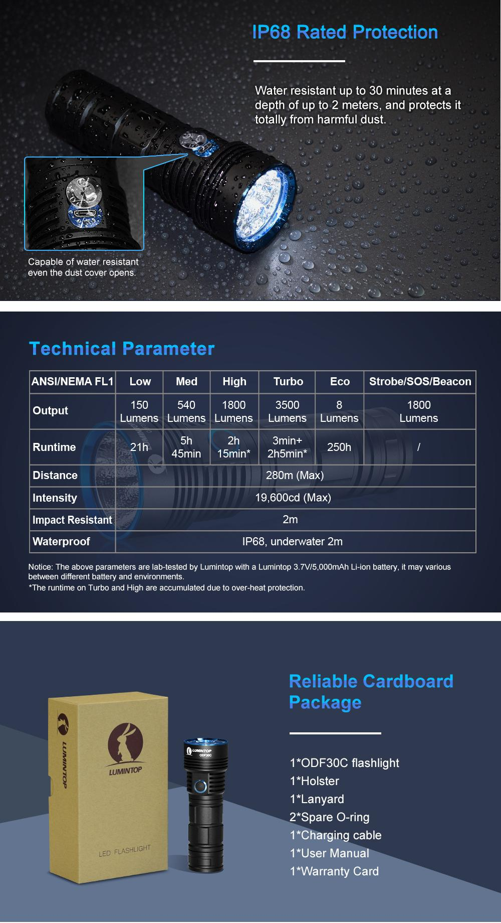 New Version Lumintop ODF30C XHP70.2 3500LM 6Modes USB Rechargeable Power Indicator Temperature Control LED Flashlight