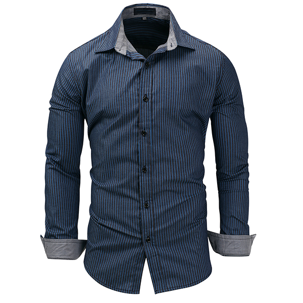 Casual Denim Long Sleeve Stripes Printing Designer Shirts fo