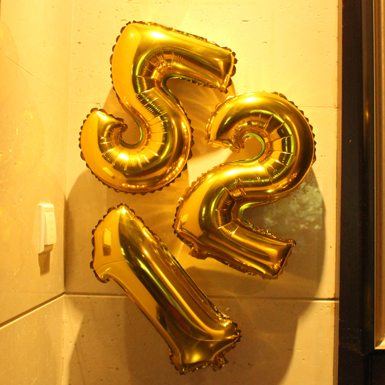 1Pcs 40'' Number Aluminum Foil Gold Silver Balloon Wedding Party Decoration Supply
