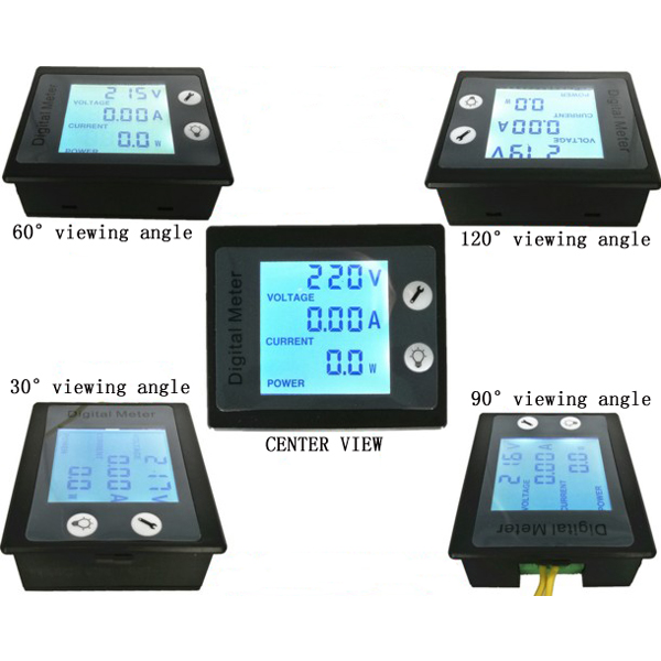 PZEM-001 AC 80-260V 10A 2200W Power Meter Digital Voltmeter Current Meter Monitor Module STN LCD Blue Backlight Screen 360 Degree Full View Capacity Display Board Indicator