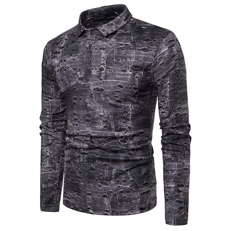 Men Art Print Long Sleeve Shredded T-Shirts