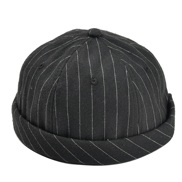 Mens Casual Outdoor Stripe Cotton Skullcap Sailor Cap