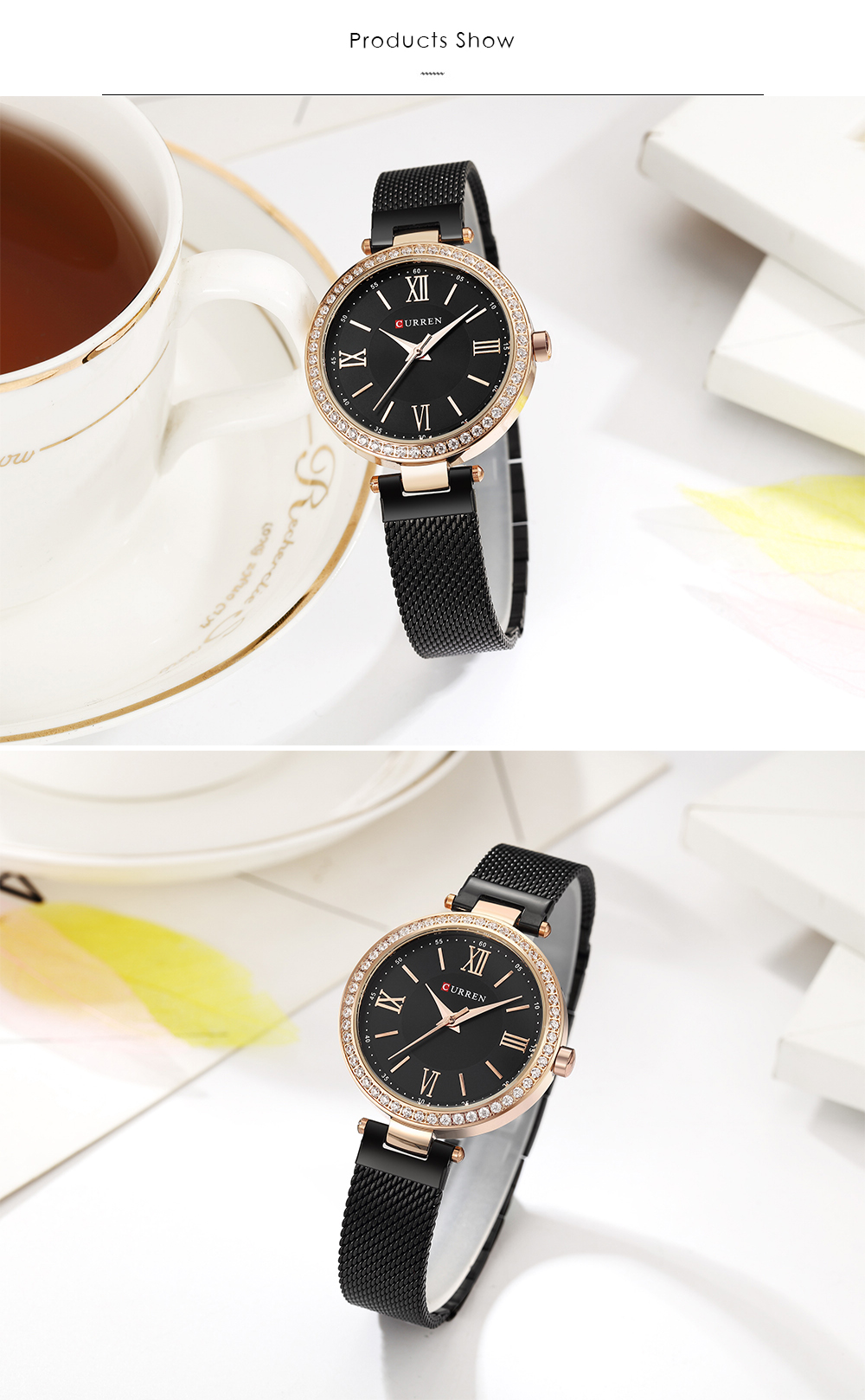 CURREN 9011 Crystal Simple Designed Women Watches