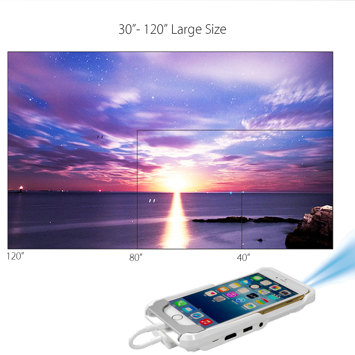 Bakeey G6 Mini DLP LED Projector Mobile Home Cinema Theater for iPhone X 8 Plus 7