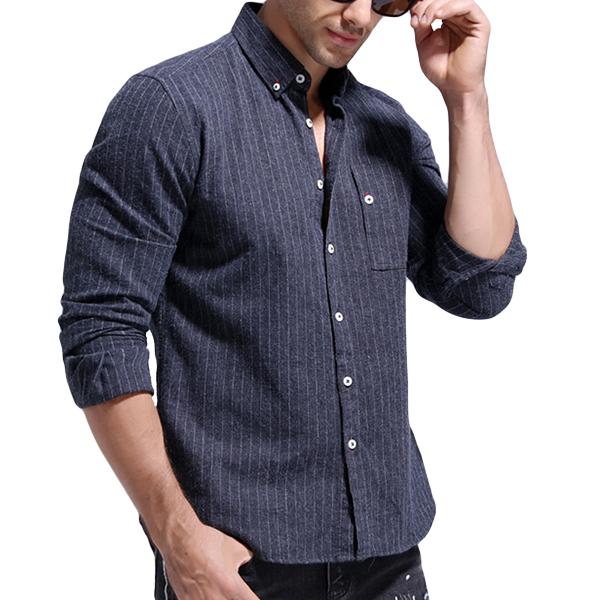 Stripes Printing Business Cotton Button Down Shirts