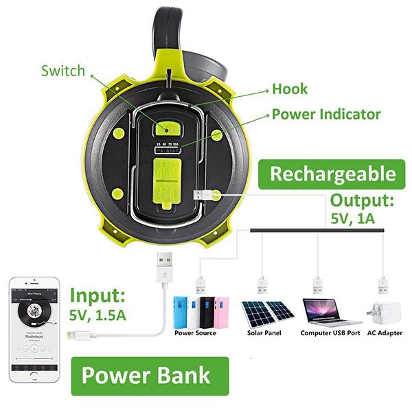 ARILUX® Rechargeable LED Camping Lantern Spot Light Waterproof 2600mAh Power Bank Hiking Emergency