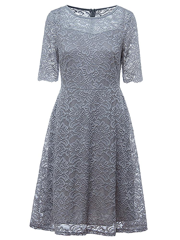 Elegant Women Lace Crochet O-Neck Zipper Short Sleeve Party Dresses