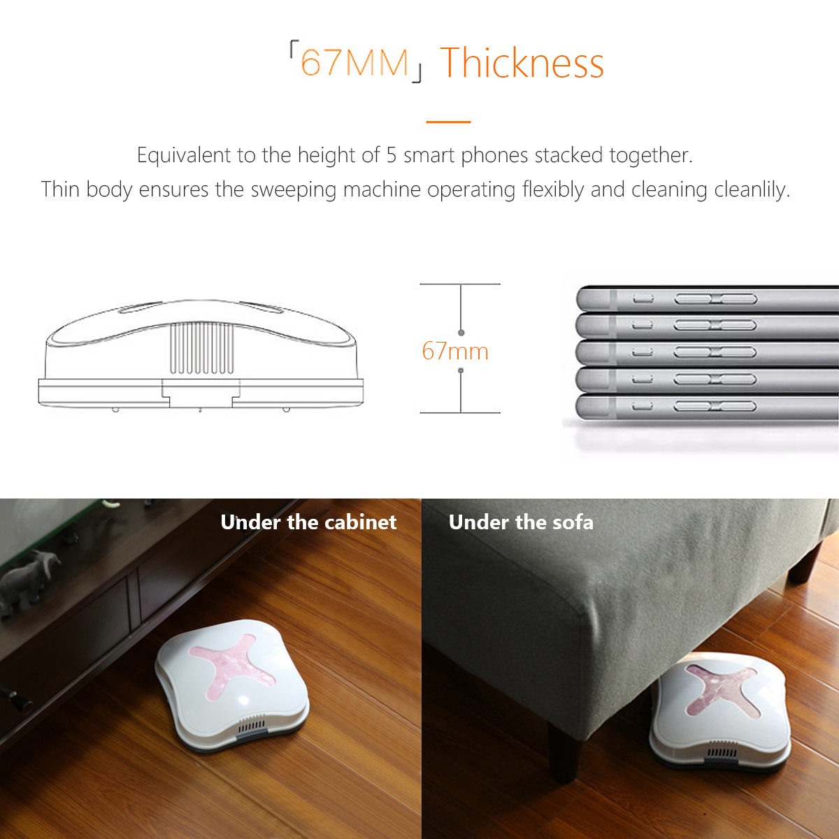 4W 2 Mode Automatic Smart Robot Vacuum Cleaner USB Rechargeable Dust Sweep Strong Suction