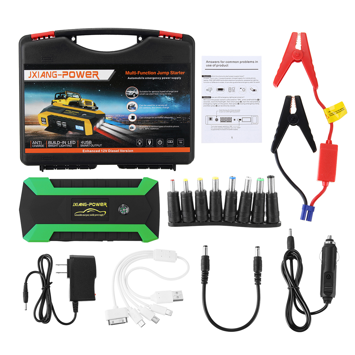 iMars 16000mAh LED 4 USB Car Jump Starter Pack Booster Charger Battery Power Bank 600A