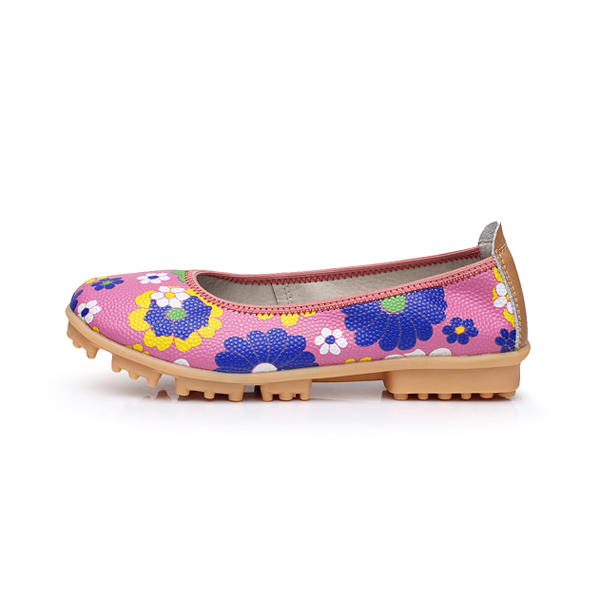 Flower Floral Colorful Flat Shoes Moccasins Flats Soft Ballet Slip-ons