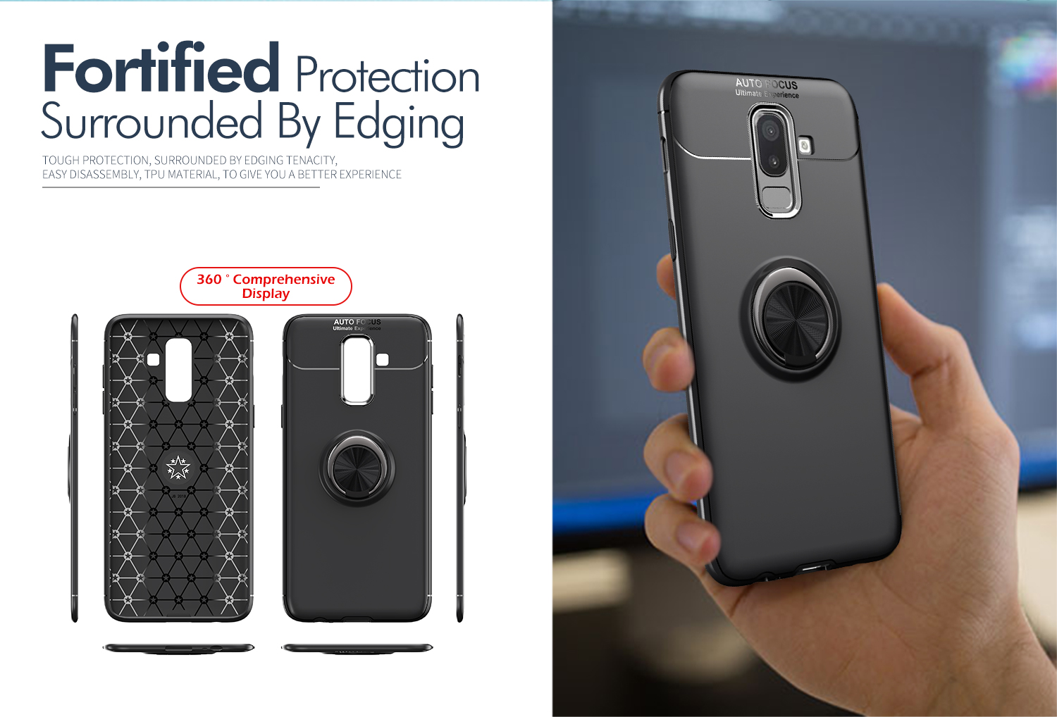C-KU 360º Rotating Ring Grip Kicktand Protective Case For Samsung Galaxy J8 2018