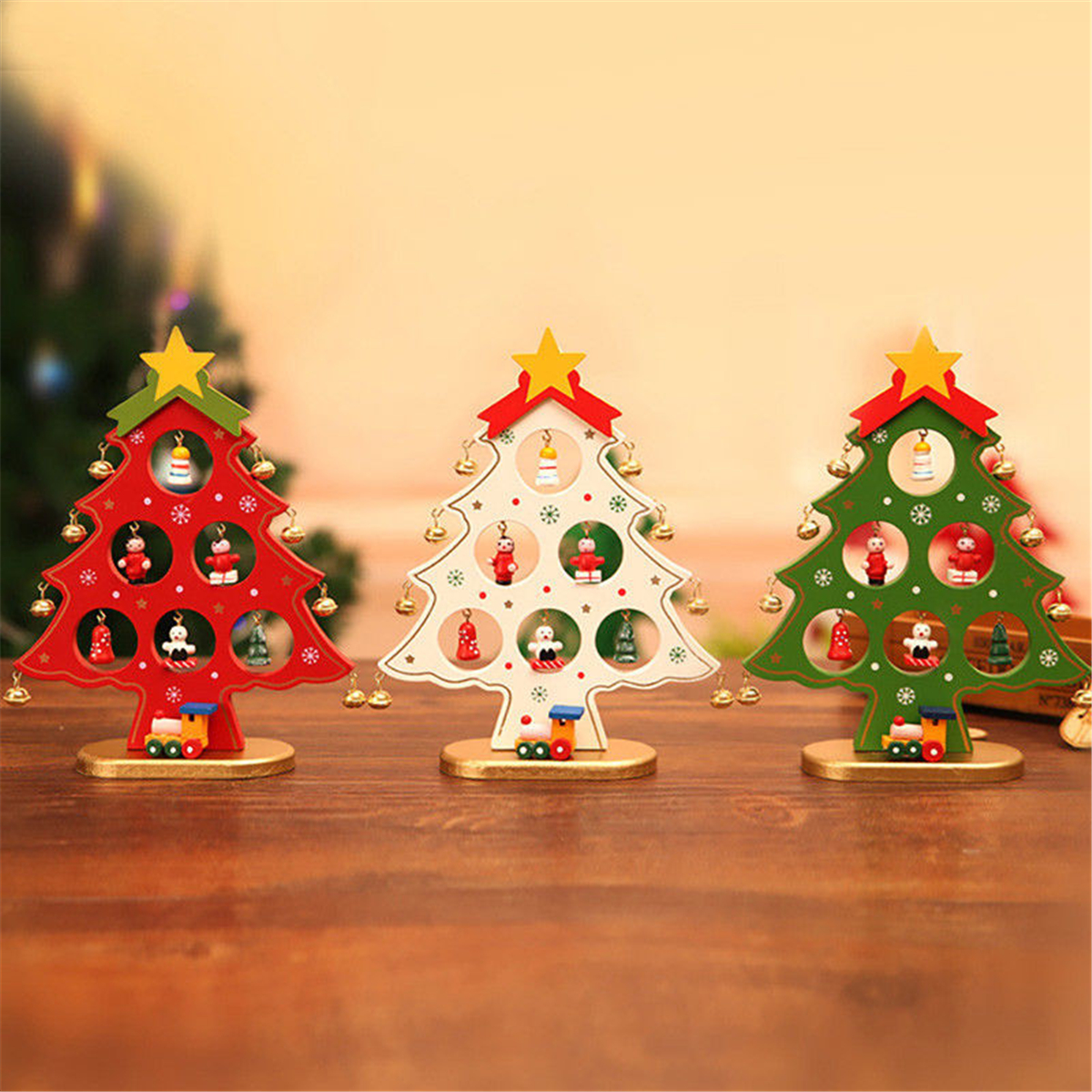 Wooden Christmas Ornaments Festival Party Tree DIY Home Table Decorations COD