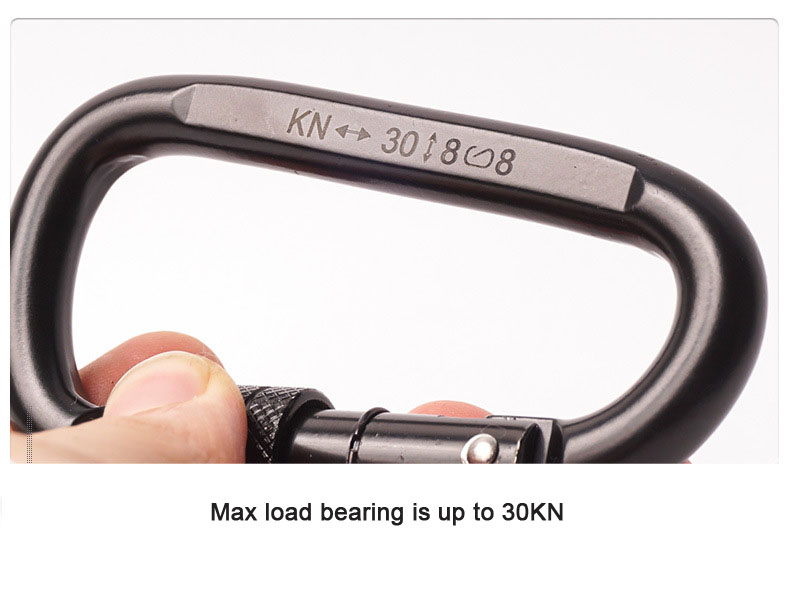 Camnal 30KN D-type Outdoor Climbing Carabiner Quick-hanging Safety Screw Lock Buckle