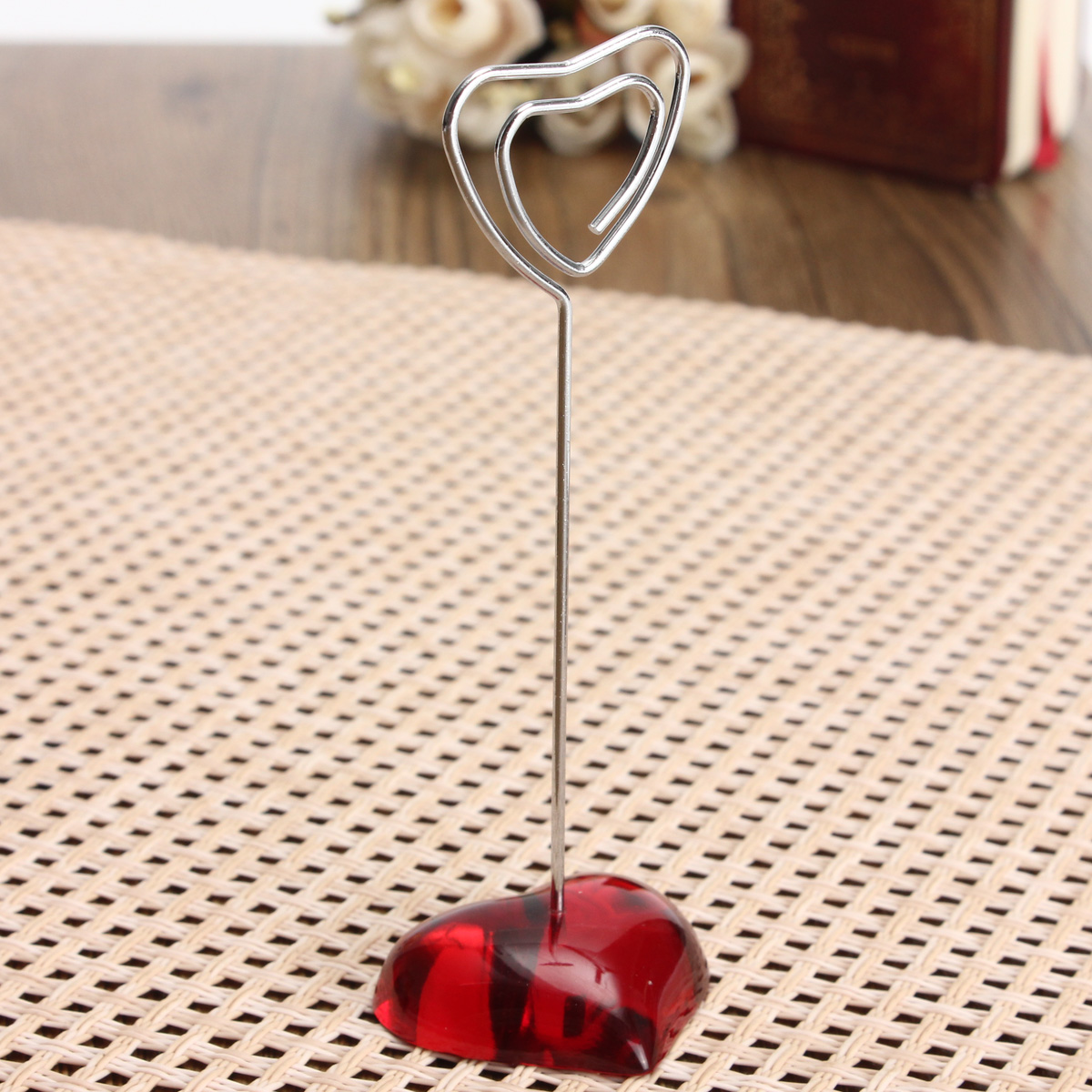 3Pcs Heart Shape Clip Card Stand Red Heart Pictures Photo Card Holder Memo Paper Message Clip