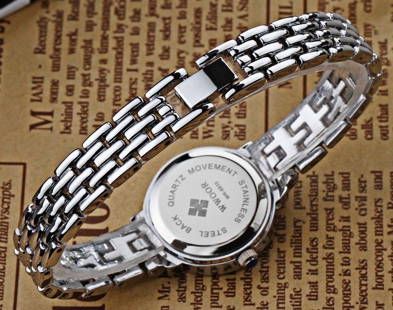 WWOOR 8810 Fashion Women Watch Elegant Rhinestones Dress Watch Casual Ladies Wrist Watch