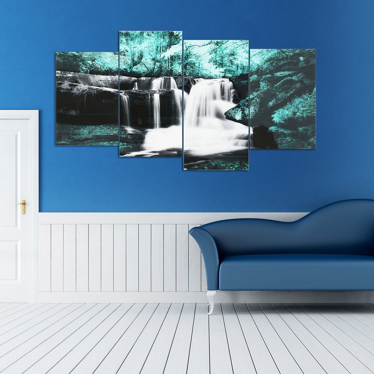 4PCS Forest Falls Wall Paintings Home Modern Art Nature Unframed Picture Decor