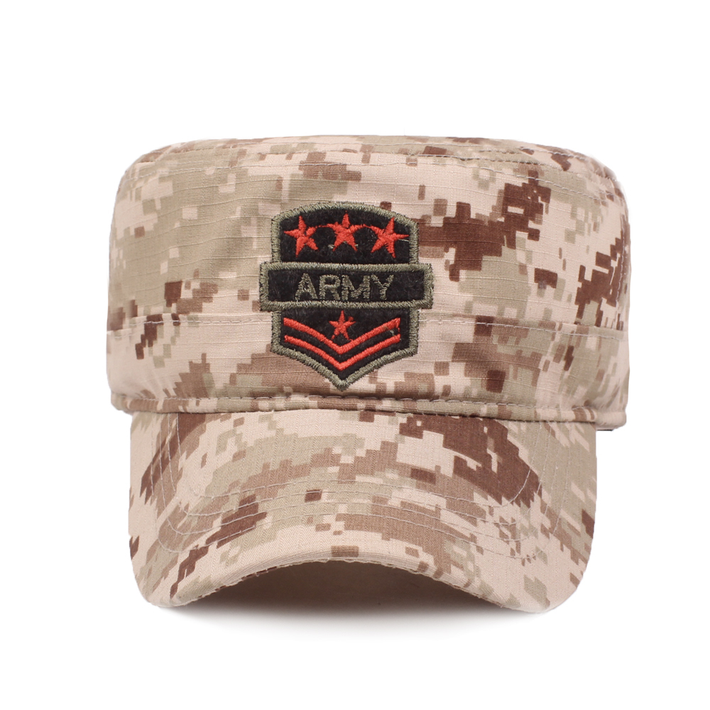 Flat Top Cap Solid Brim Army Cadet Style Military Hats